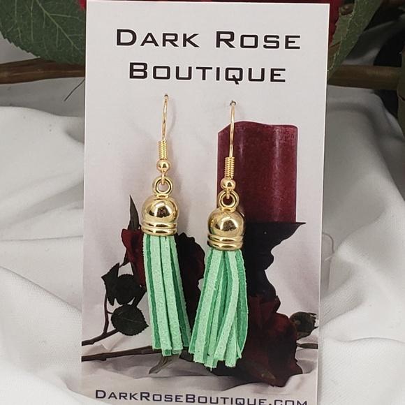 Dark Rose Boutique Jewelry - Fun Green Tassels on French Hooks